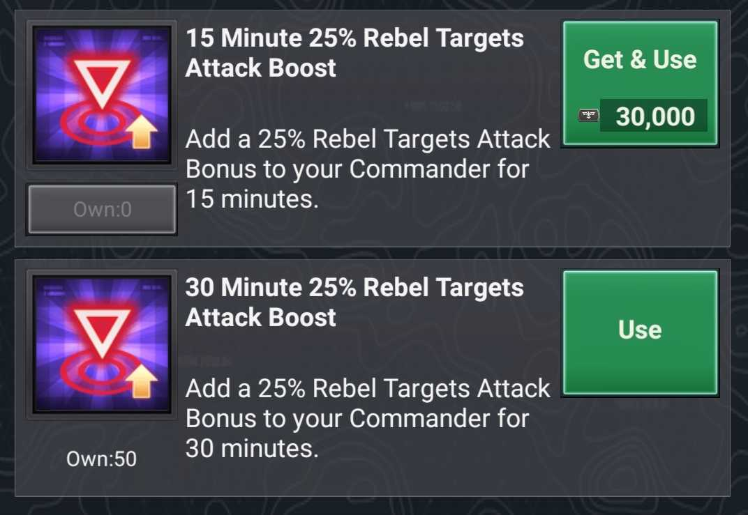 Rebel Attack Boosts