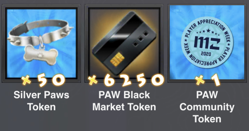 All Three PAW tokens